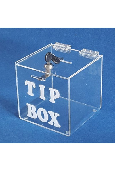 Didideko Pleksi Bahşiş Kutusu Pleksi Tip Box 15 x 15 x 15 cm