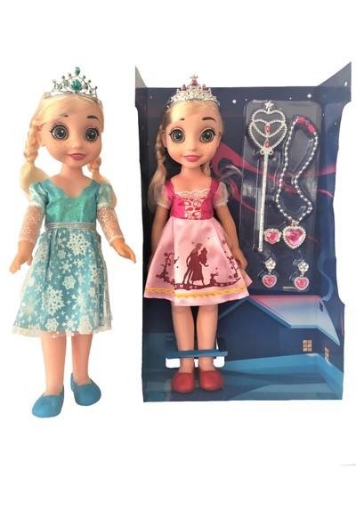 Global Oyuncak Bebek Frozen Eliza Şarkı Söyleyen Takı Setli Bebek 42 Cm