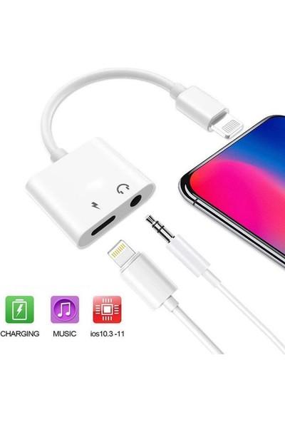 Streak Apple iPhone Lightning Kulaklık ve Şarj Adaptörü Dönüştürücü Çevirici