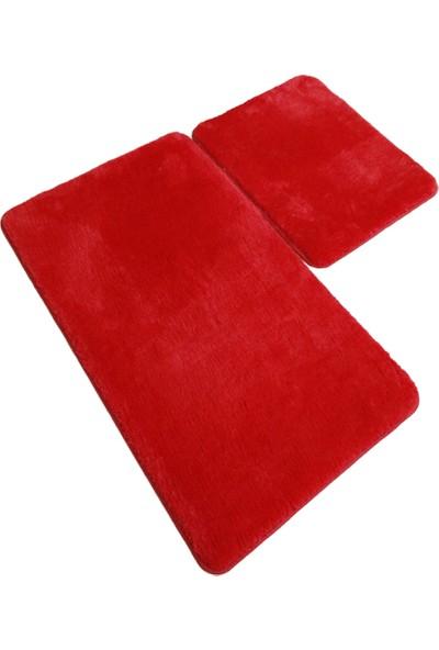 My Evilla Takım Banyo Paspası Kaymaz Taban Rabit Kumaş - Kırmızı