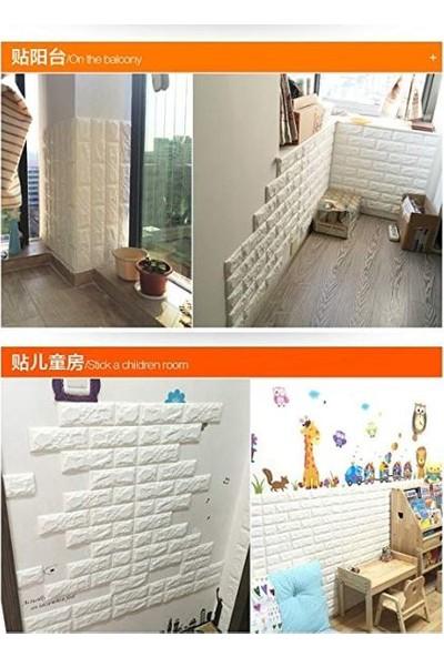 Renkli Duvarlar Kendinden Yapışkanlı Esnek Sünger Tuğla Desen Beyaz Duvar Paneli