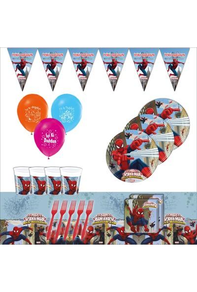 Bayhesaplı Örümcek Adam Spiderman Doğum Günü Parti Seti 24 Kişilik