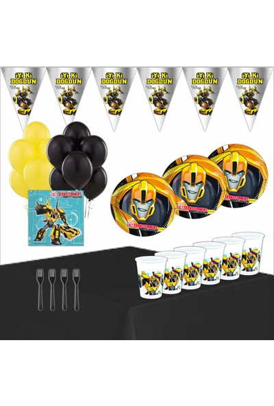Bayhesaplı Transformers Bumblebee Doğum Günü Parti Seti 16 Kişilik