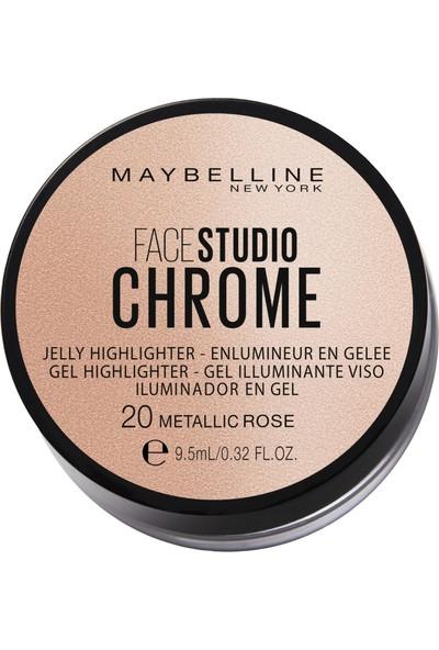 Maybellıne New York Face Studıo Chrome Jel Aydınlatıcı -20 Metallıc Rose
