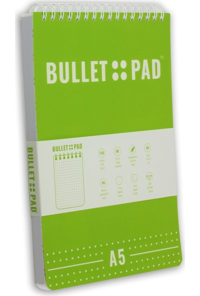 Bullet Pad Kiwiwhite Noktalı Defter Spiralli