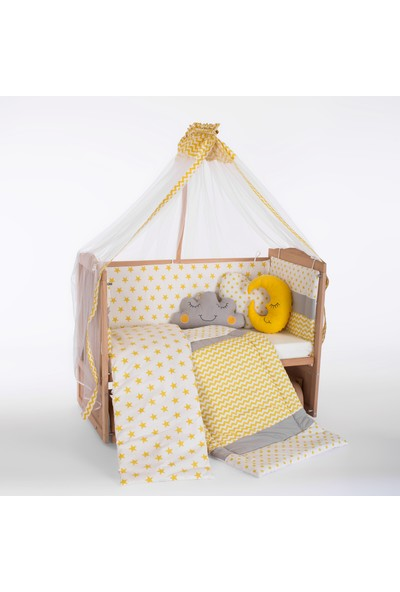 Heyner Ahşap Organik Beşik Anne Yanı Beşik 3 Kademeli Lüx Bebek Beşiği 60 x 120 cm - Sarı Yıldız Uyku Setli & Soft Yataklı