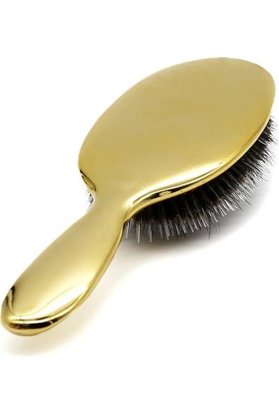 Land Of Myth – Premium Seri Saç Açma Fırçası Doğal Kıl Dişler Galvanik Pürüzsüz Yüzey Antistatik (Gold)