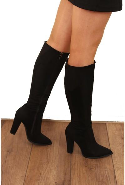 Derigo Siyah Süet Kadın Fermuarlı Çizme