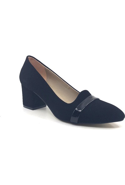 Ceylan MR114 Siyah Şanel Süet Kadın Günlük Topuklu Ayakkabısı