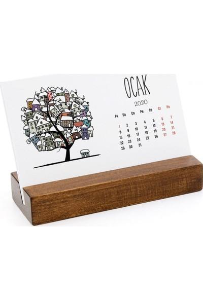 Bialdım Mevsim Ağaç Yatay Tasarımlı Masa Takvimi 2020