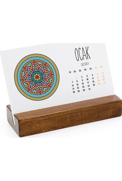 Bi'aldım Mandala Renkli Yatay Tasarımlı Masa Takvimi 2020