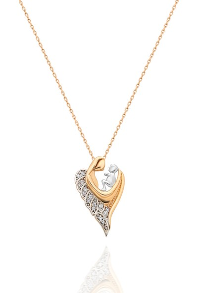 Chewel 14 Ayar Altın Anne Bebek Kolye