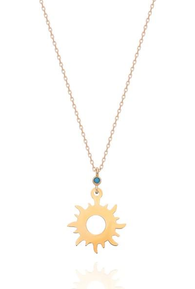 Chewel 14 Ayar Altın Güneş Kolye