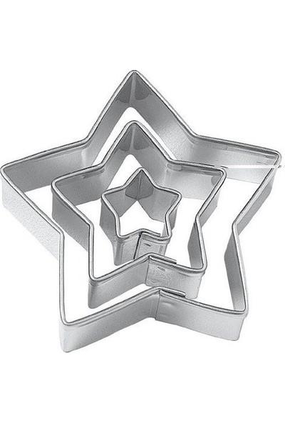Pasta Cumhuriyeti Metal Yıldız Kurabiye Kalıbı (Kopat) Seti - 3'lü - 3187