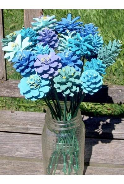 Ebruli Mavi Boyalı El Yapımı Kozalak 30 cm