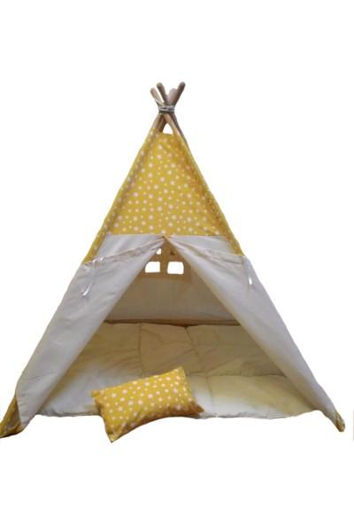 Altev Ahşap Yıldızlı Çoçuk Çadırı - Sarı