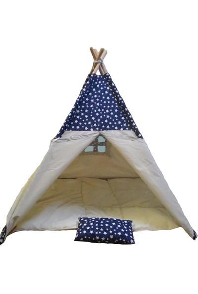 Altev Ahşap Yıldızlı Çoçuk Çadırı - Lacivert