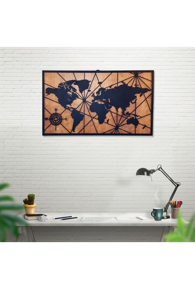 Dekkor Art Dekkorart Pusula Ahşap & Metal Dünya Haritası
