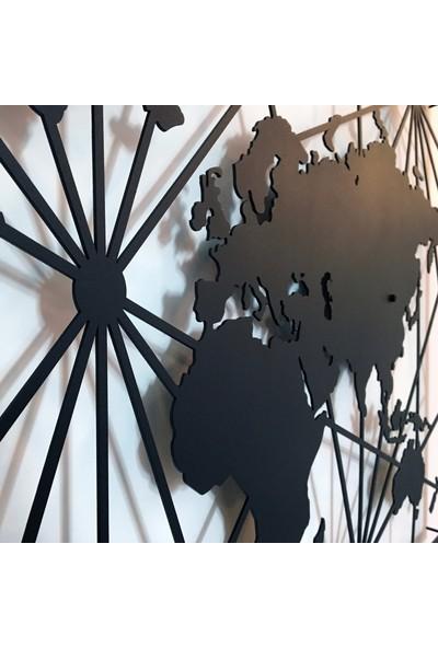 Dekkor Art Dekkorart Pusula Metal Dünya Haritası
