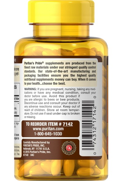 Puritan's Pride Royal Jelly Extract 500 Mg 120 Softgels