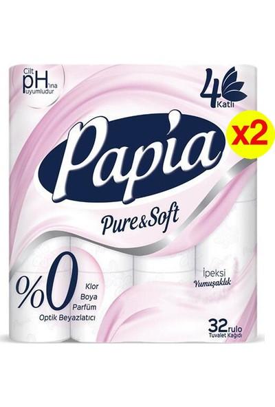 Papia Pure&soft 4 Katlı Tuvalet Kağıdı 32'li 2 Adet