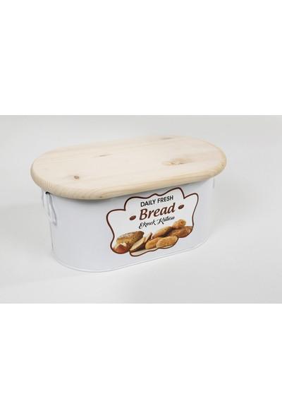 Bidolu Shop Kesme Tahtası Kapaklı Ekmeklik Kutusu Metal Beyaz
