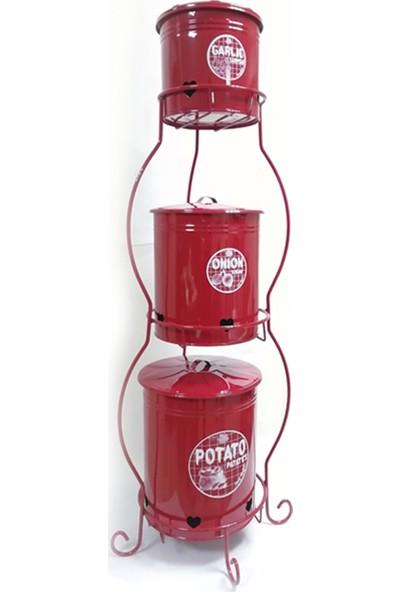 Bidolu Shop Ultra Kalın Patates Soğan Sarımsak 3 Katlı Stand Kırmızı