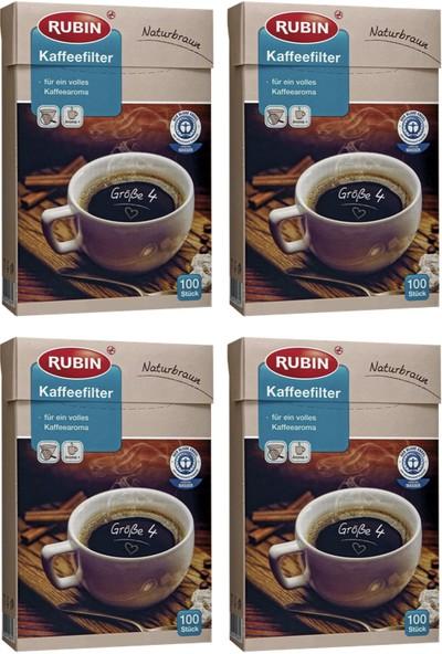 Rubin Büyük Boy 4 Numara Kahve Filtresi Naturel Kağıt 400 Adet
