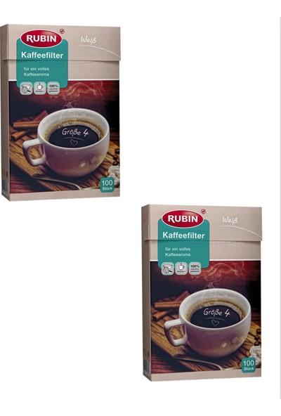 Rubin Büyük Boy 4 Numara Kahve Filtresi Beyaz Kağıt 200 Adet