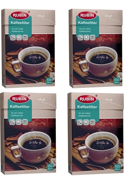 Rubin Büyük Boy 4 Numara Kahve Filtresi Beyaz Kağıt 400 Adet