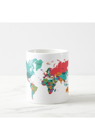 Kuppa Shop Dünya Haritası Baskılı Kupa Bardak