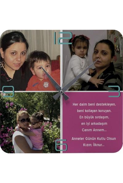 Kraftolye Anneler Günü Hediyesi Fotoğraflı Ahşap Saat 37cm KA01-1284