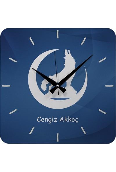 Kraftolye Kişiye Özel Bozkurt Tasarımlı Hediye Ahşap Saat 37cm KA01-1389