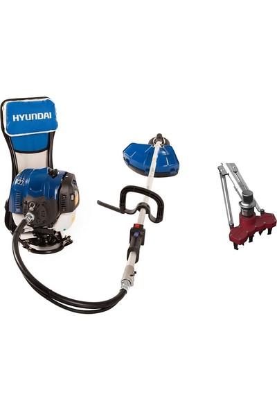 Hyundai HYX55S Benzinli Sırt Tırpanı + Farmart M4 Çapalama Aparatı