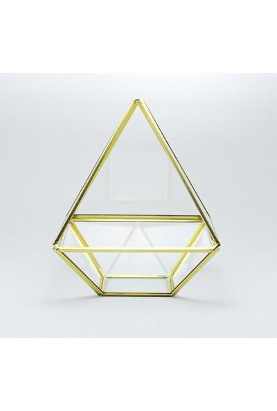 El Crea Designs Gold Pirinç Brass Geometrik Prizma Fanus Nişan Masası Organizasyon Sunum Masası