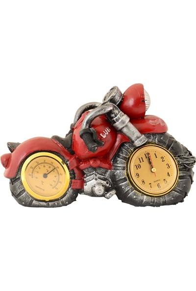 Pologift Polyester Dekoratif Koyu Kırmızı 7 Motor Masaüstü Saat