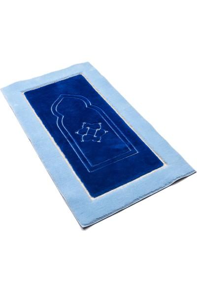 Secdem Konya Model Açık Mavi - Lacivert Peluş Seccade