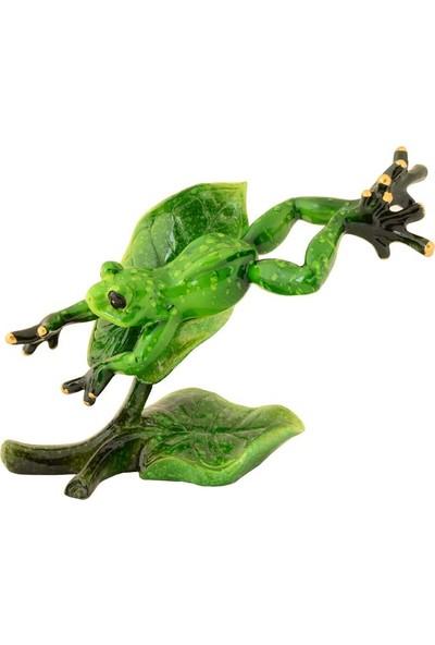 Pologift Polyester Dekoratif Yapraktan Zıplayan Kurbağa Figürü