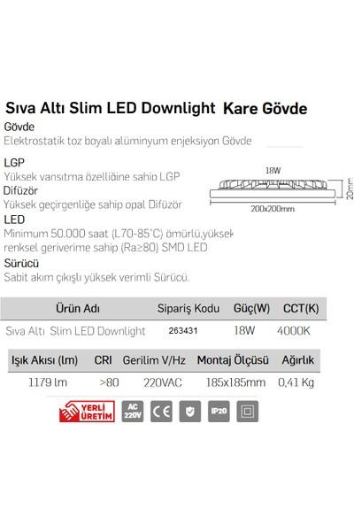 Lamptime 263431 LED Panel Slim Kare Spot 18 W 4000K Ilık Beyaz Işık Siyah Gövde