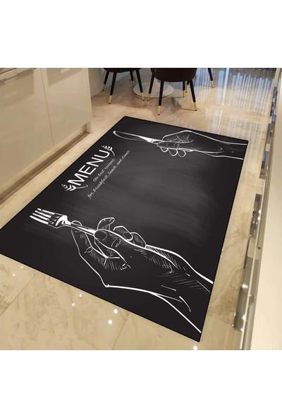 Else Halı Menu Kitchen 3d Baskılı Dekoratif Desenli Mutfak Halısı - 80 x 150 cm