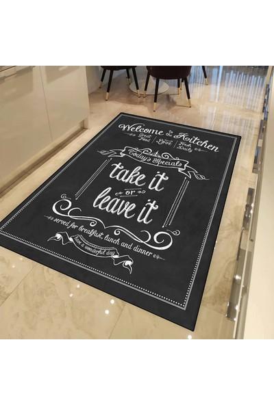 Else Halı Siyah Beyaz Yazılı 3d Dekoratif Desenli Mutfak Halısı - 80 x 150 cm