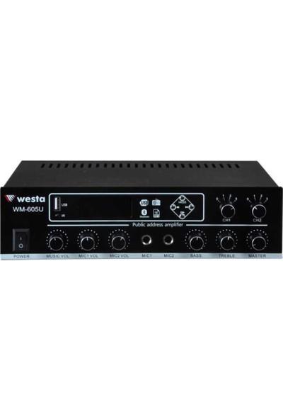 Westa WM-605U 100 Watt Trafolu 2 Kanallı Kontrollü Mikser Amfi
