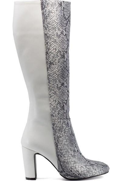 Eşle 9K-6304 Kadın Topuklu Çizme Beyaz