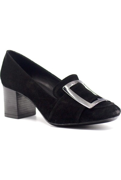 Eşle 9K-3487 Kadın Deri Topuklu Ayakkabı Siyah