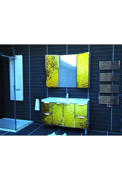 Artila Işıklı Kapaklı Altın Doku Seramik Tezgahlı Banyo Dolabı 120 x 200 cm