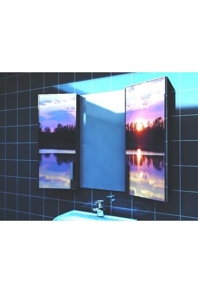 Artila Işıklı Kapaklı Günbatımı Lavabo Üstü Banyo Dolabı 120 x 90 cm