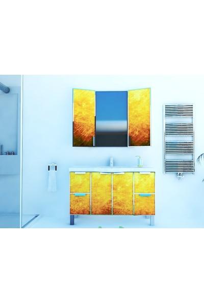 Artila Işıklı Kapaklı Bakır Doku Seramik Tezgahlı Banyo Dolabı 120 x 200 cm