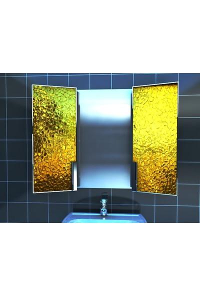 Artila Işıklı Kapaklı Altın Doku Lavabo Üstü Banyo Dolabı 120 x 90 cm
