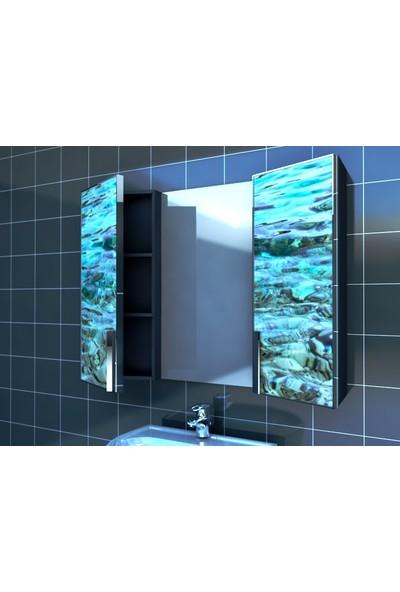 Artila Işıklı Kapaklı Deniz Dibi Lavabo Üstü Aynalı Banyo Dolabı 120 x 90 cm