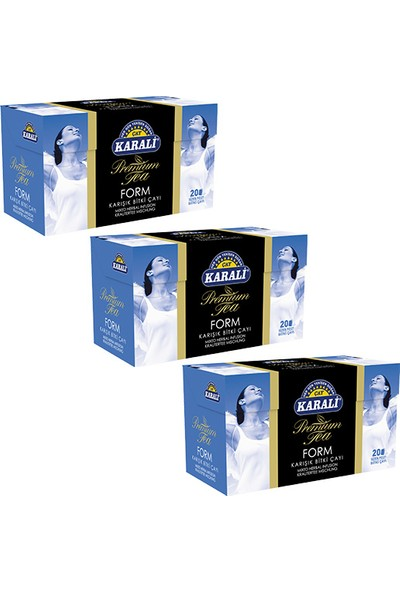 Karali Çay Karali Premium Bardak Poşet Form Çayı 20'li x 3 Adet